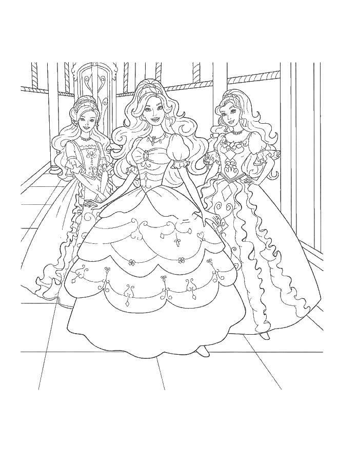 Раскраска Принцессы  всегда улыбаются Скачать принцессы.  Распечатать ,Принцессы,