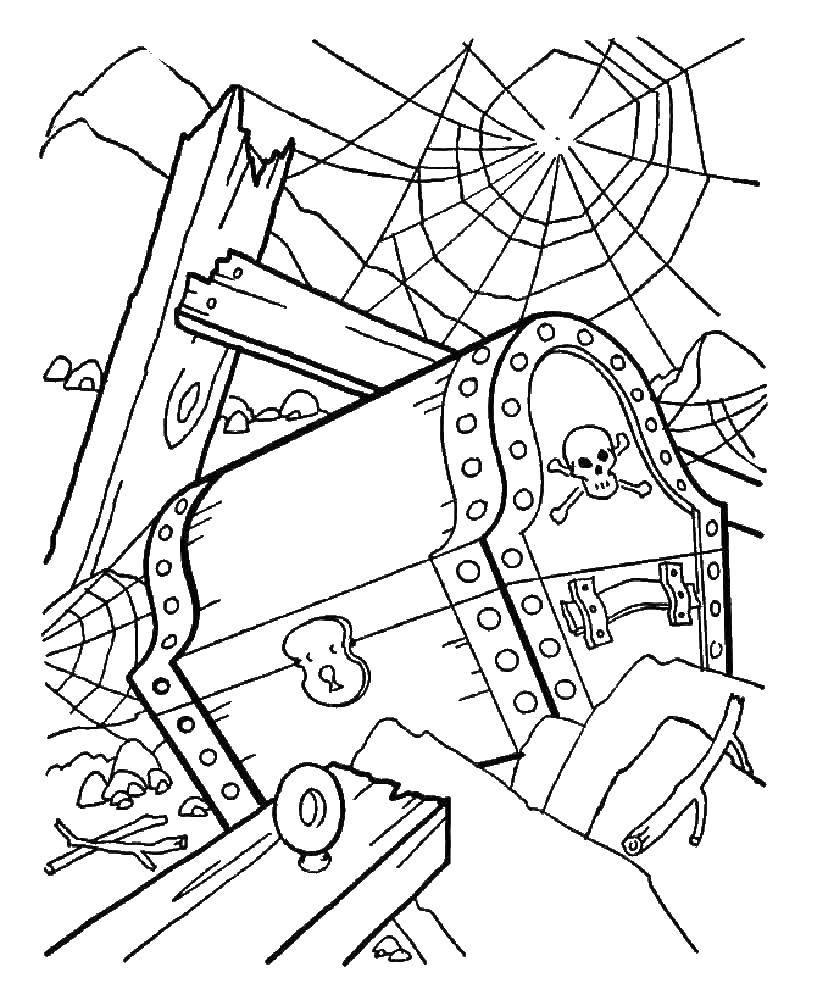 Раскраска Древний сундук с сокровищами Скачать Пират, остров, сокровища.  Распечатать ,пираты,