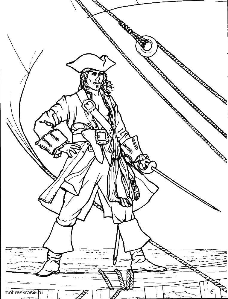 Раскраска Джек воробей Скачать Пират, остров, сокровища, корабль.  Распечатать ,пираты,