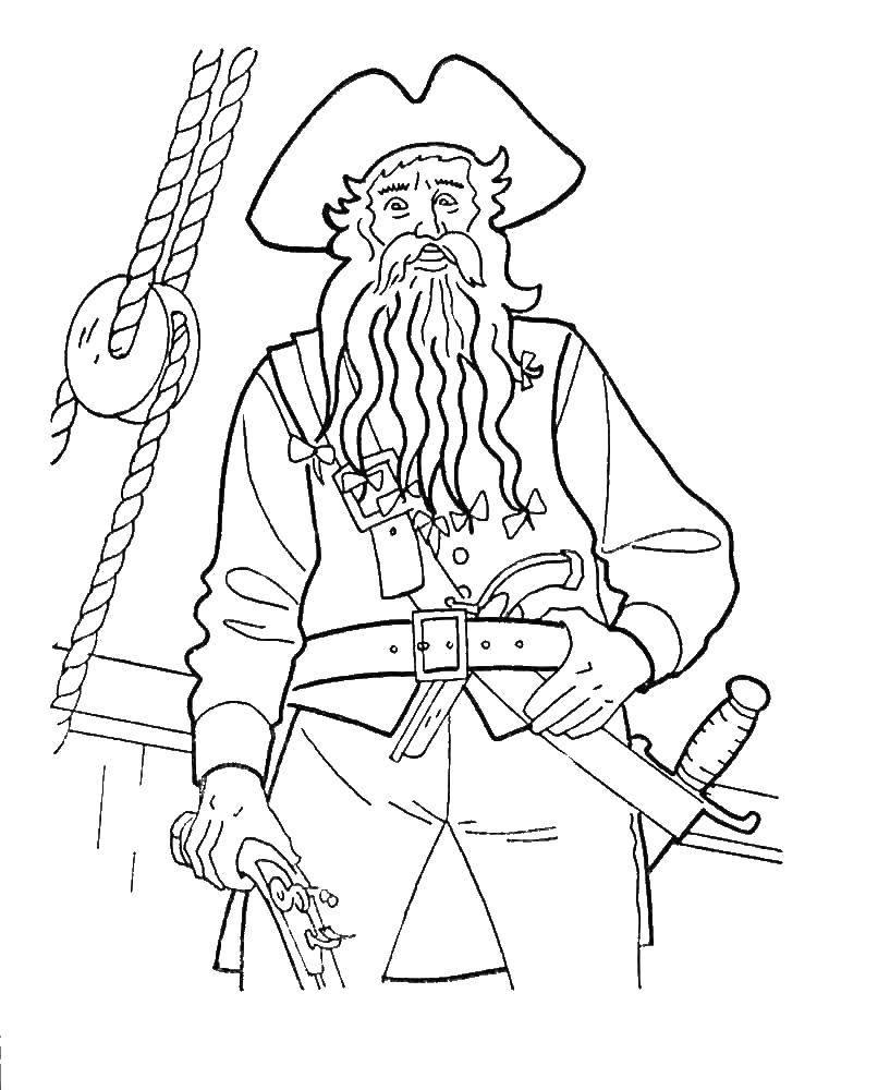 Раскраска Пират на своём корабле Скачать Пират, остров, сокровища, корабль.  Распечатать ,пираты,