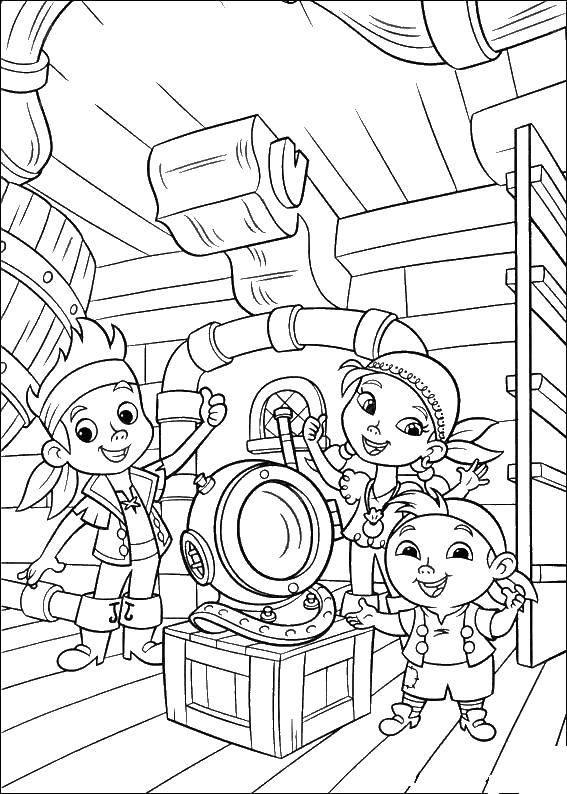 Раскраска Пираты на корабле Скачать Пират, остров, сокровища, корабль.  Распечатать ,пираты,