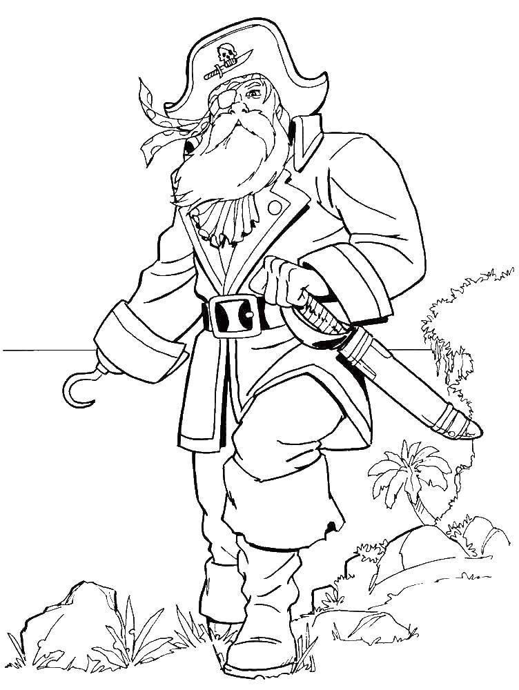 Раскраска Старый пират Скачать Пират, остров, сокровища.  Распечатать ,пираты,
