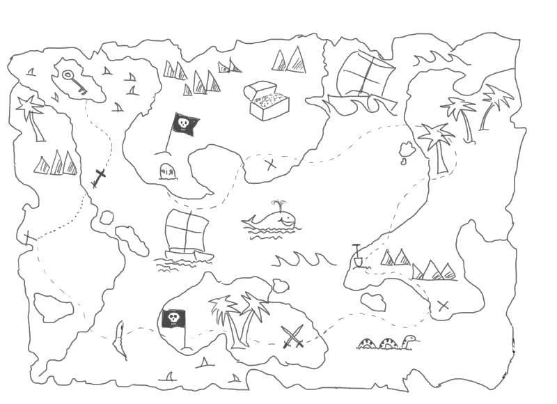 Раскраска Пираты Скачать ,Пират, остров, сокровища, карта,.  Распечатать