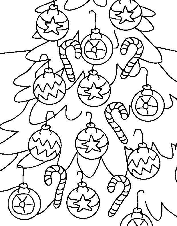Раскраска Красивая ёлочка Скачать Новый Год, ёлка, подарки, игрушки.  Распечатать ,новый год,