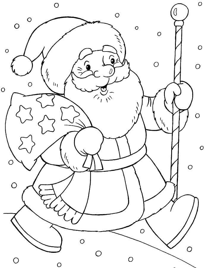 Раскраска Дед мороз с подарками Скачать Новый Год, Дед Мороз, Санта Клаус, подарки.  Распечатать ,новый год,