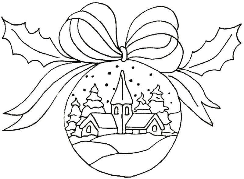 Раскраска Красивая рождественская игрушка Скачать Новый Год, Новогодняя игрушка.  Распечатать ,елочные игрушки,