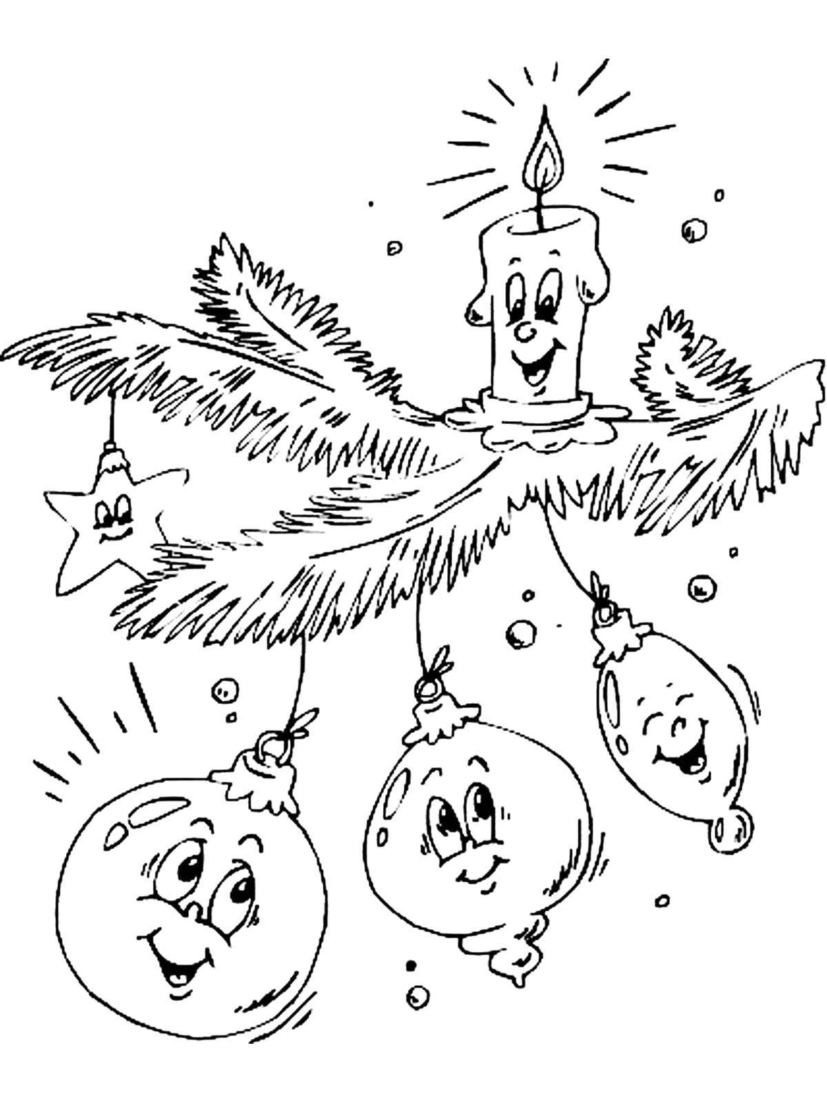 Раскраска Веточка с новогодними игрушками. Скачать Новый Год, Новогодняя игрушка.  Распечатать ,елочные игрушки,