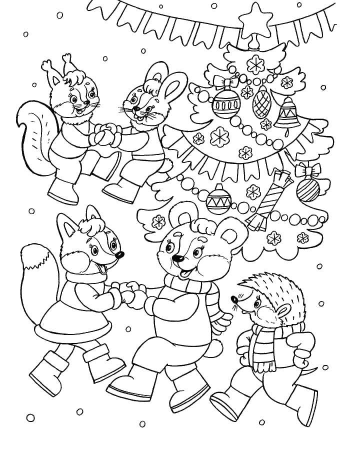 Раскраска Новогодний карнавал животных Скачать Новый Год, ёлка, подарки, игрушки, дети, веселье, праздник.  Распечатать ,новый год,