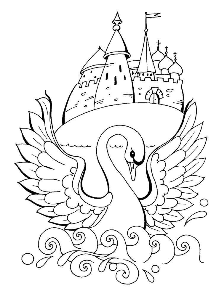Раскраска Сказка о царе салтане Скачать Сказки, Царь Салтан.  Распечатать ,Сказки,