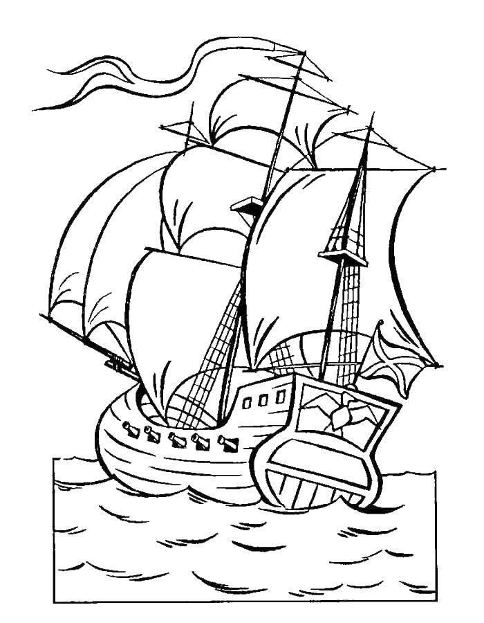 раскраски раскраска корабль в море сказка о царе салтане