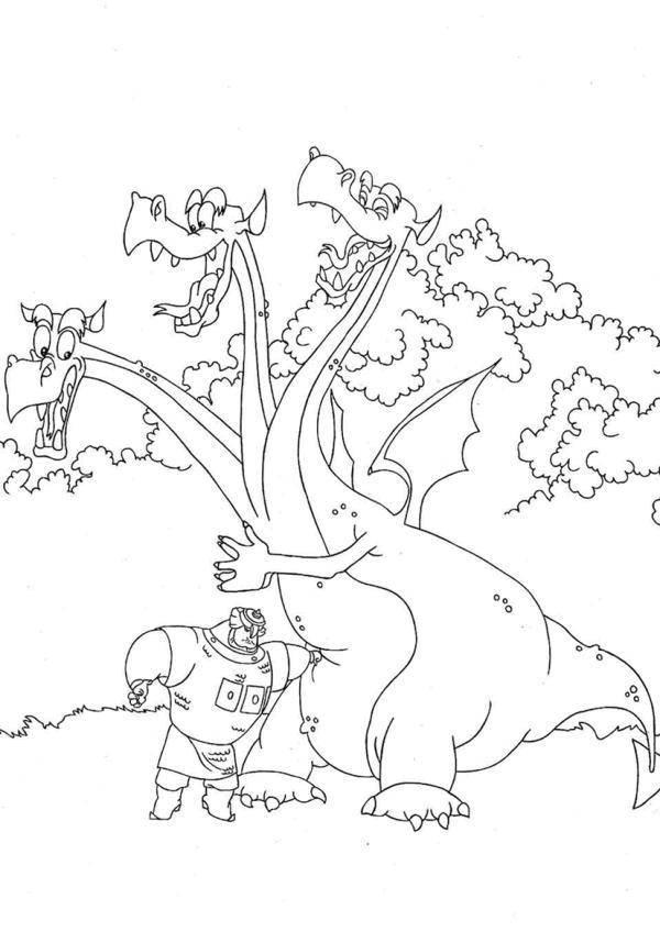 Раскраска Змей горыныч и добрыня никитич Скачать Змей Горыныч, Добрыня Никитич.  Распечатать ,Сказки,