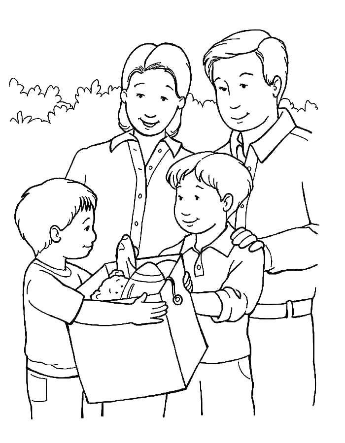 Раскраска Родители с детьми Скачать Семья, родители, дети.  Распечатать ,семья,
