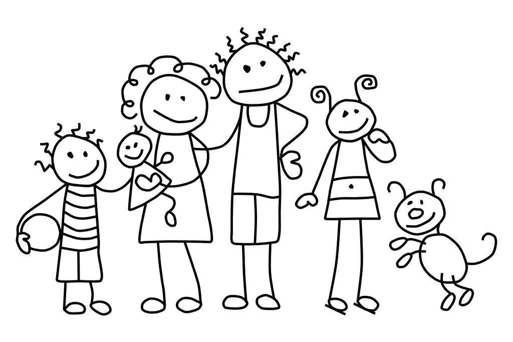 Раскраска Семейка Скачать Семья, родители, дети, счастье.  Распечатать ,семья,
