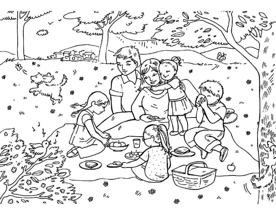 Раскраска Семейный пикник Скачать Семья, родители, дети, пикник.  Распечатать ,семья,