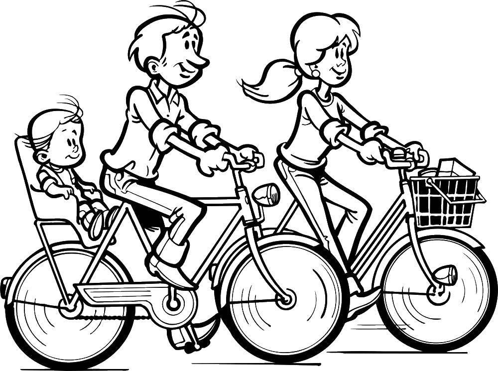 Раскраска Папа,мама,малыш Скачать папа, мама, малыш, велосипед.  Распечатать ,раскраски,