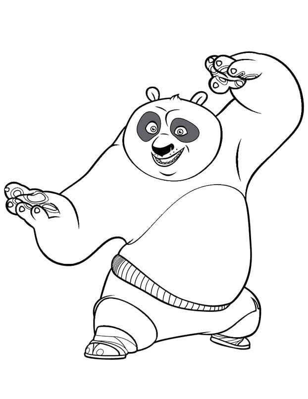 Раскраска По из кунг фу панда Скачать Персонаж из мультфильма, Кунг Фу Панда.  Распечатать ,Персонаж из мультфильма,