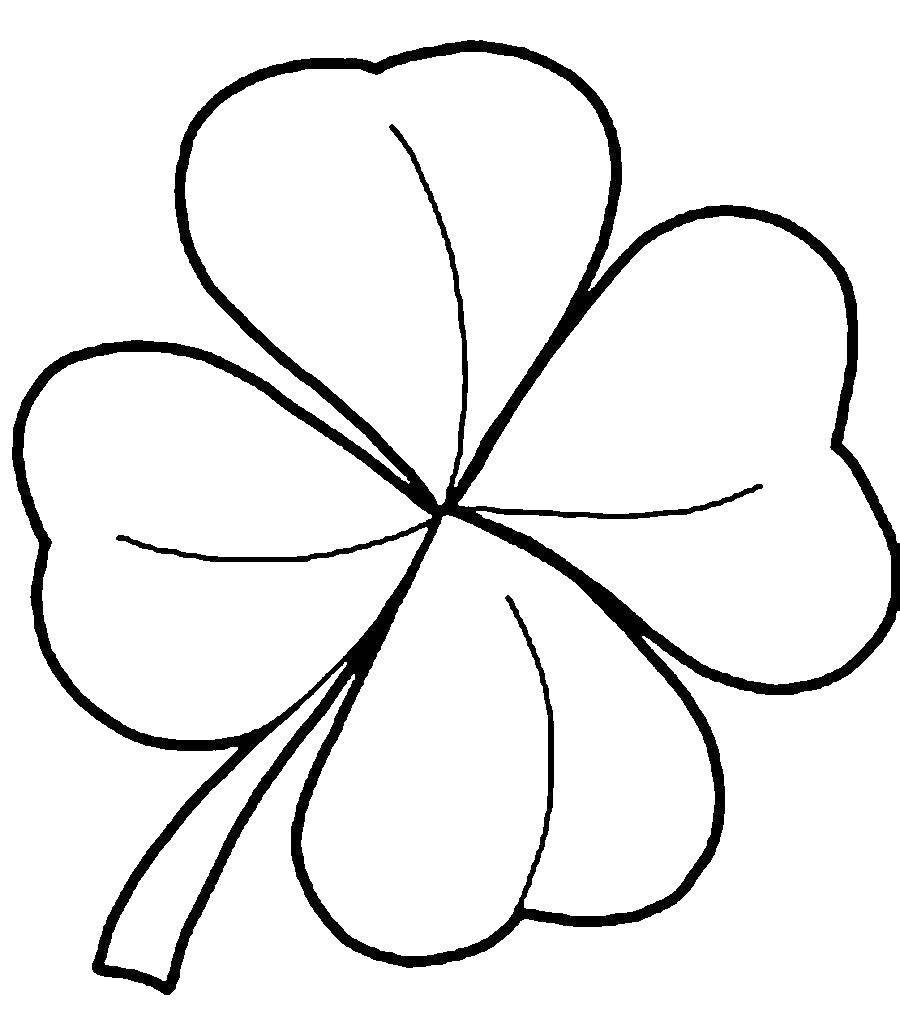 Раскраска Лист клевера Скачать листклевера.  Распечатать ,Контуры листьев,