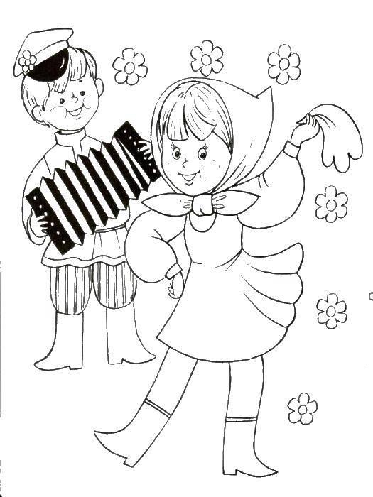 Раскраска Мальчик играет девочка танцует Скачать мальчик, девочка, гармон.  Распечатать ,дети,