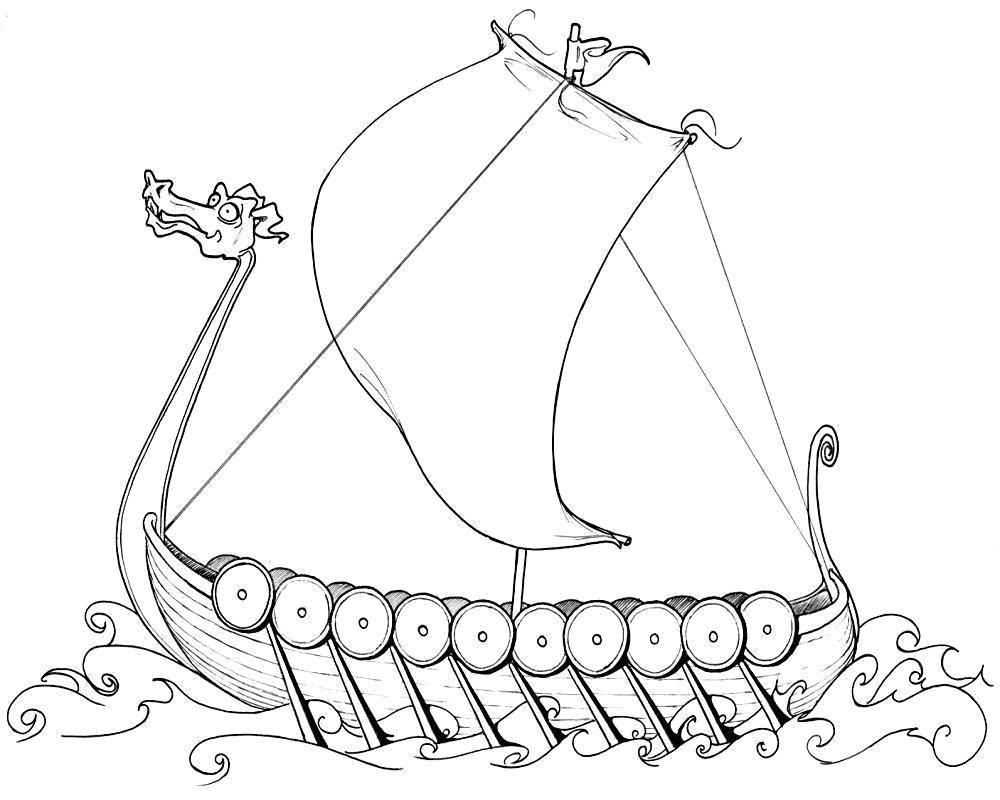 Раскраска Древний корабль Скачать Корабль, вода.  Распечатать ,корабли,