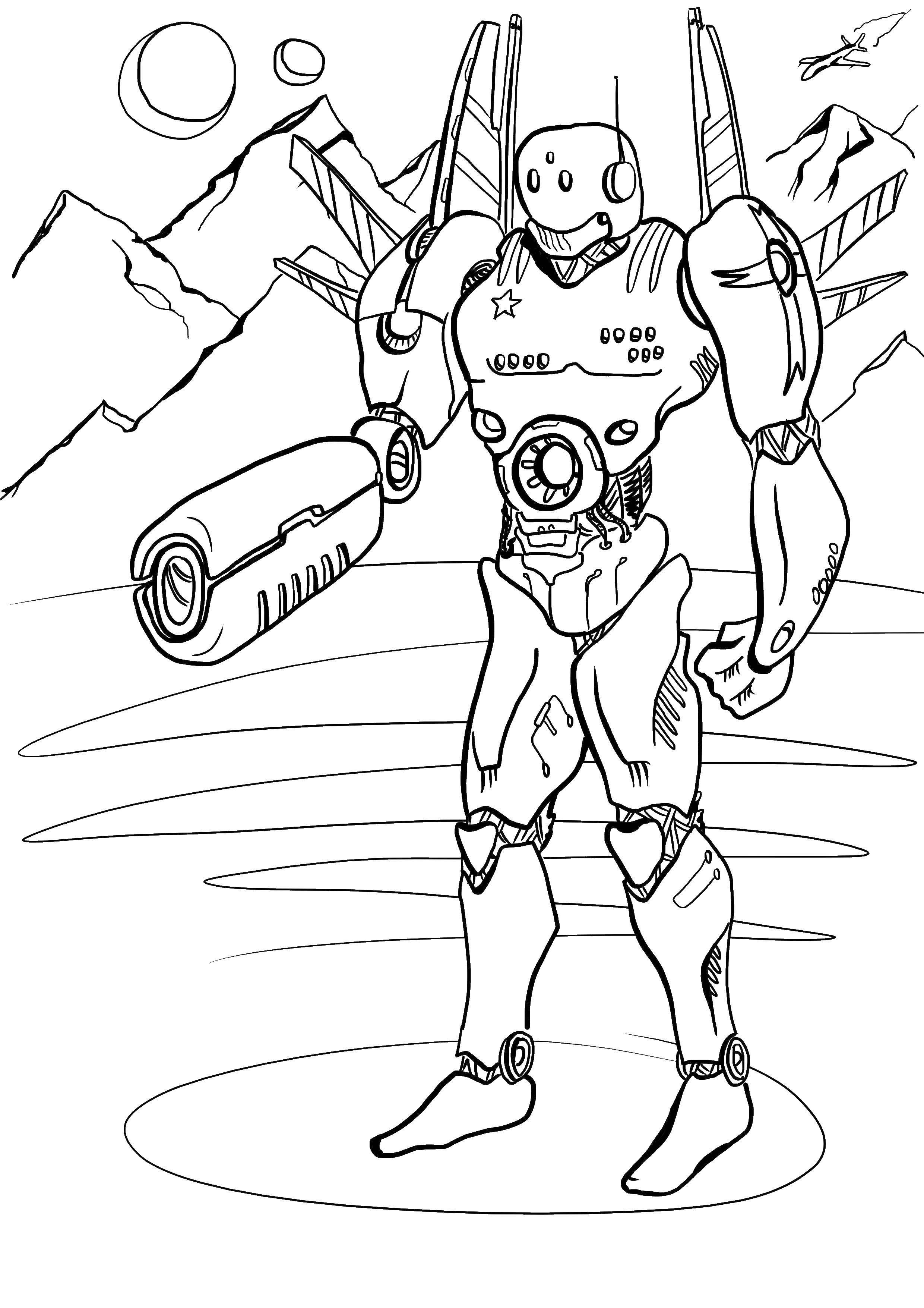 Раскраска Галактический робот Скачать Робот.  Распечатать ,робот,