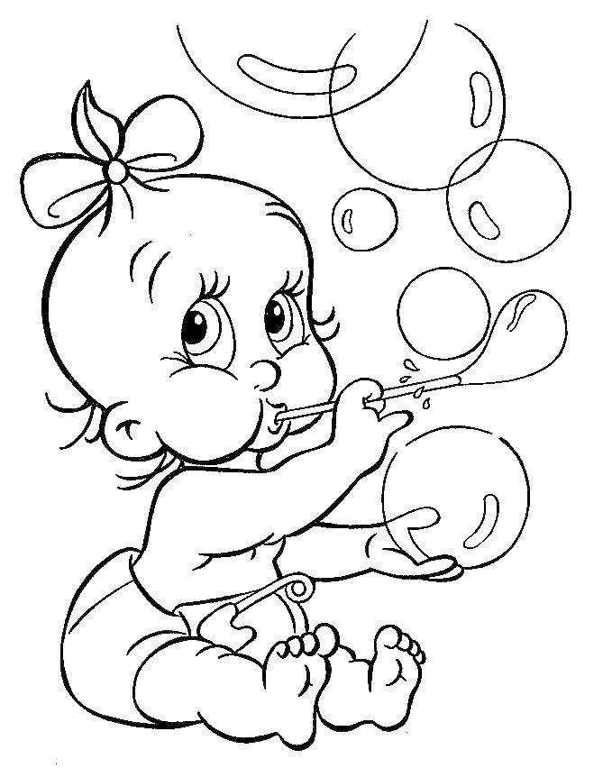 Раскраска Малышка пускает мыльные пузыри Скачать ,Младенец, дети,.  Распечатать