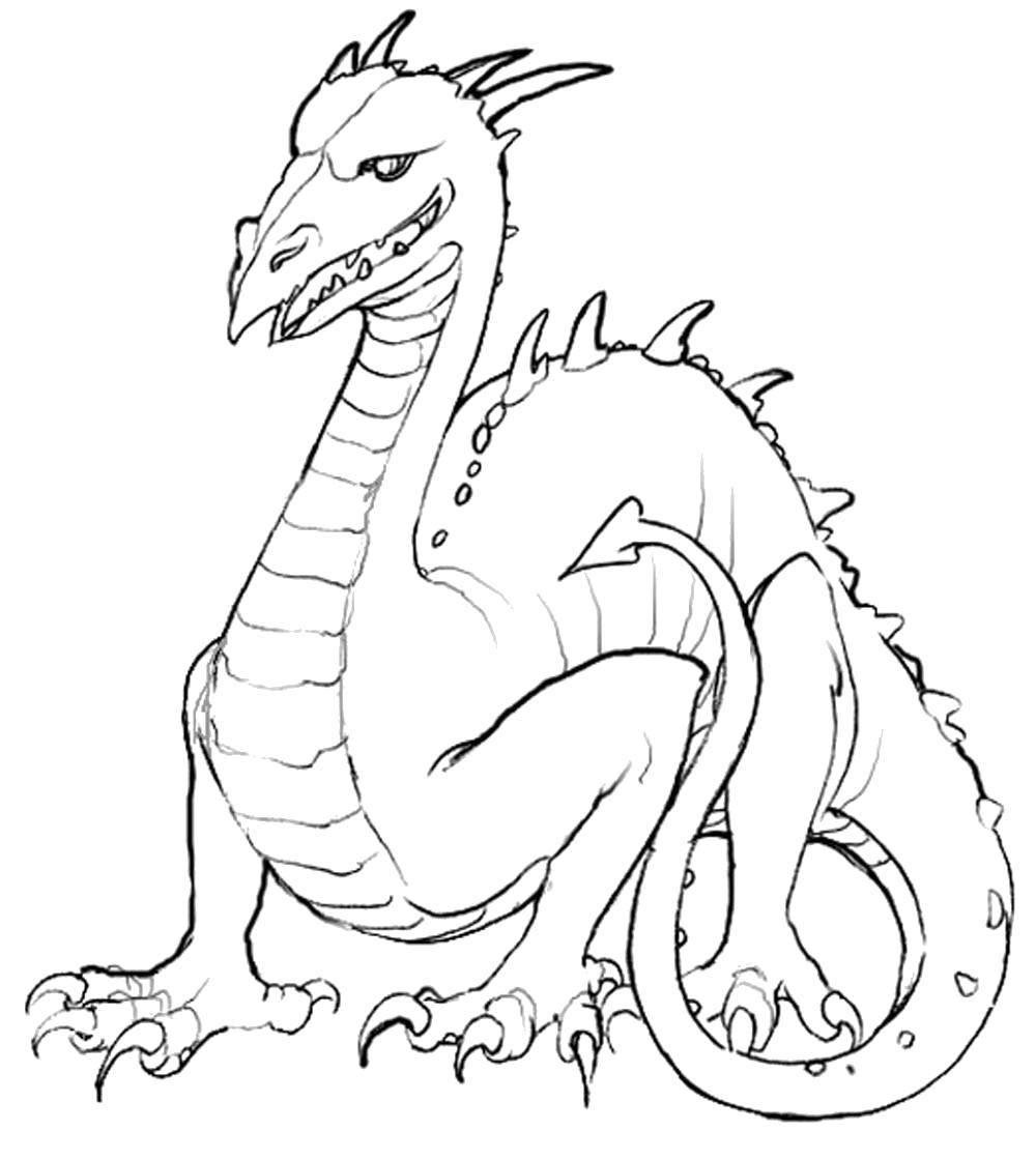 Раскраска Гигантский дракон. Скачать Драконы.  Распечатать ,Драконы,