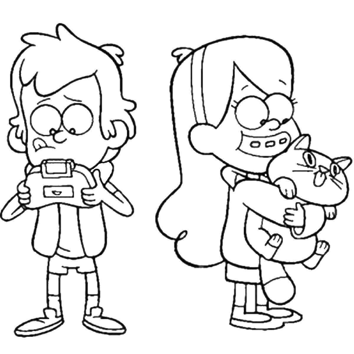 Раскраска Персонажи из мультфильма гравити фолз Скачать Персонаж из мультфильма.  Распечатать ,гравити фолз,