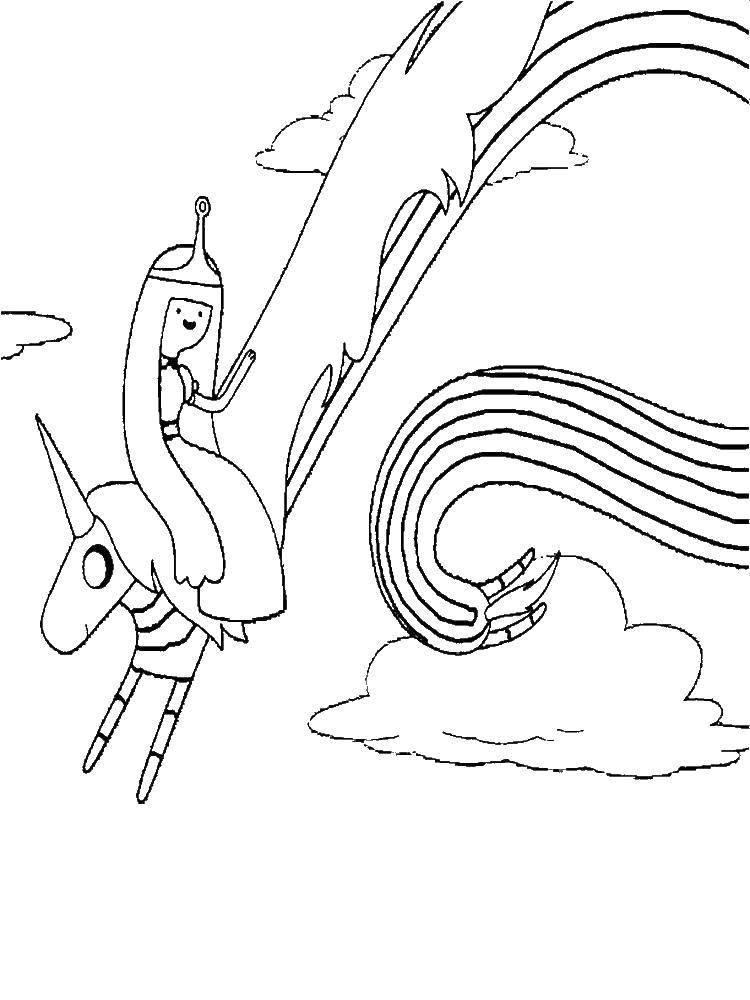 """Раскраска Принцесса бубльгум на леди ливнерог Скачать Персонаж из мультфильма, """"Время Приключений"""".  Распечатать ,время приключений,"""