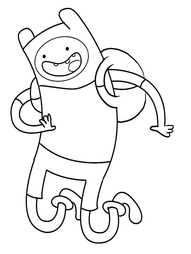 """Раскраска Весёлый финн Скачать Персонаж из мультфильма, """"Время Приключений"""".  Распечатать ,время приключений,"""