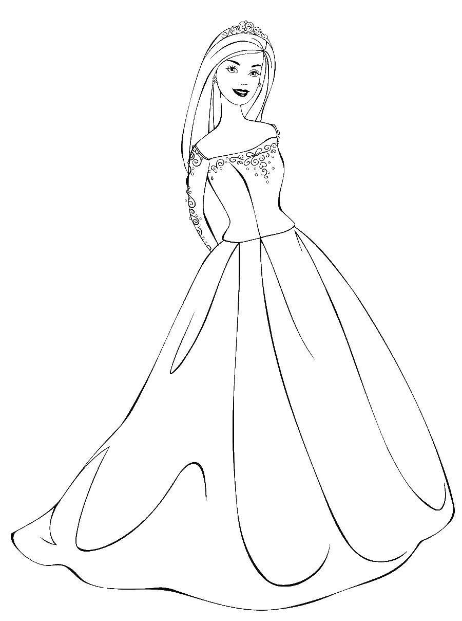 Раскраска Принцесса барби Скачать Барби, принцесса, принц.  Распечатать ,Принцессы,