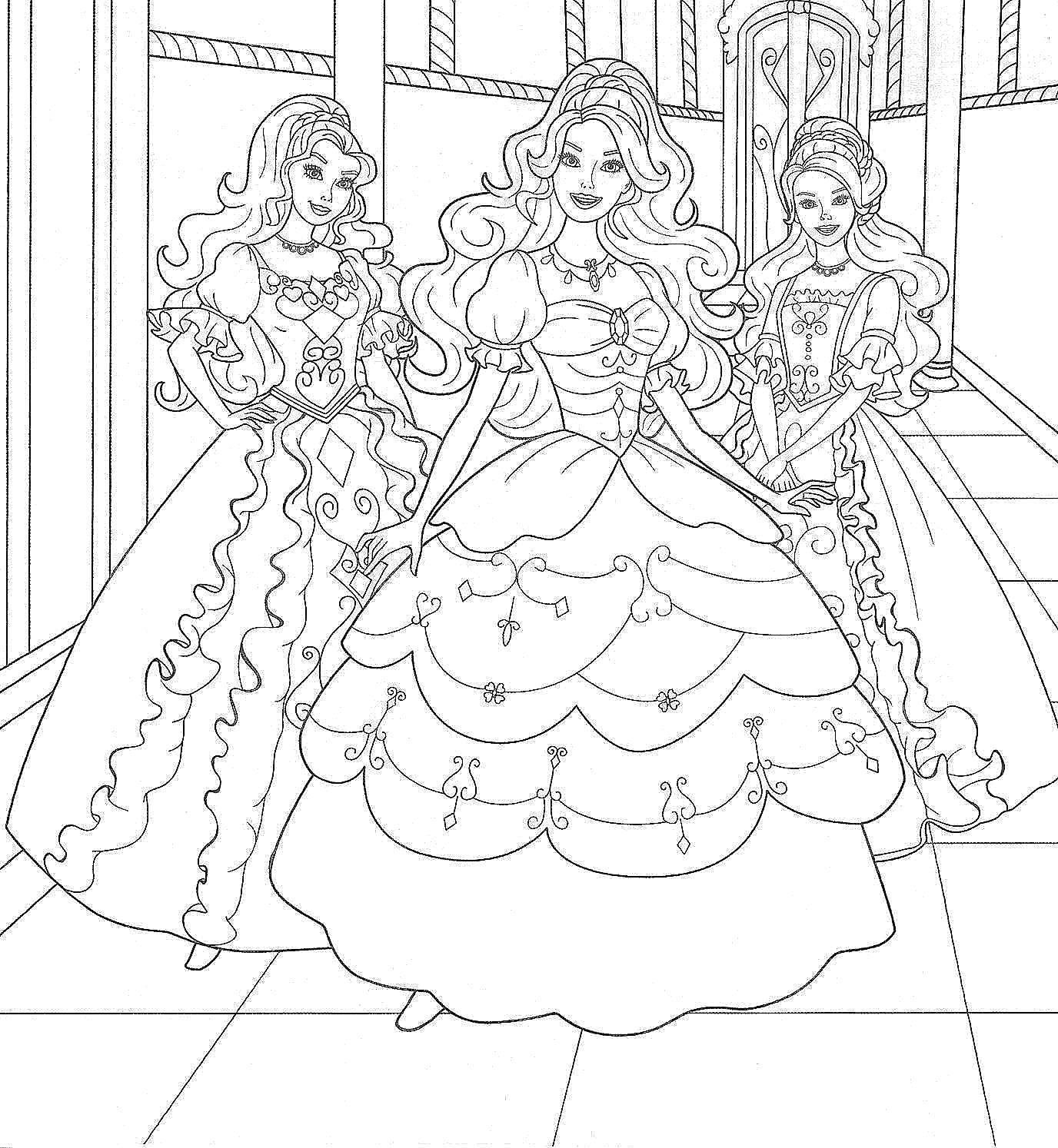 раскраски принцессы раскраска барби принцессы в пышных