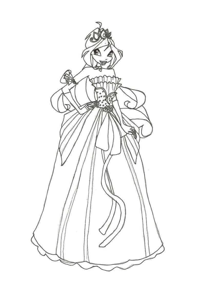 Раскраска Фея из мультфильма winx Скачать Персонаж из мультфильма, Winx.  Распечатать ,фея,