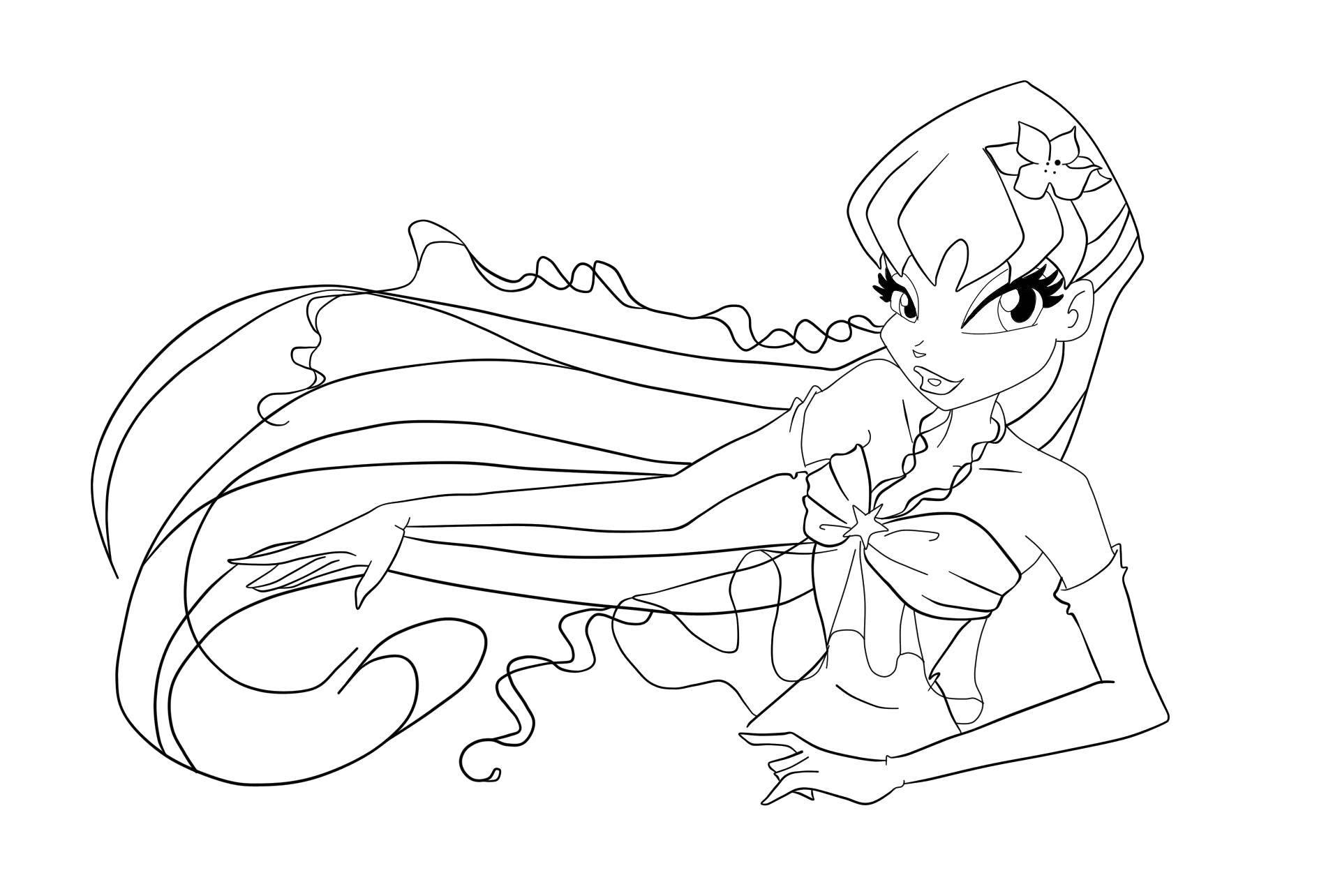 Раскраска Стелла из мультфильма winx Скачать Персонаж из мультфильма, Winx.  Распечатать ,фея,