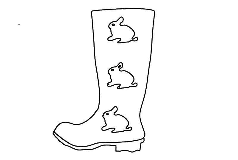 Раскраска сапоги Скачать ,Обувь, сапожки,.  Распечатать