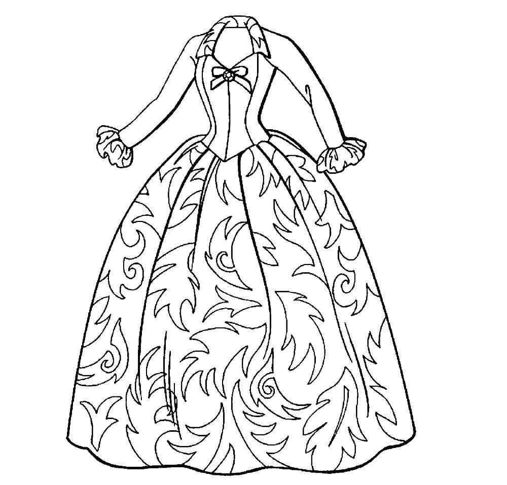 Раскраска бальные платья Скачать ,Одежда, платье,.  Распечатать