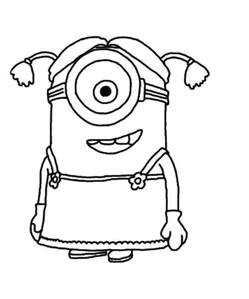 Раскраска Миньон Скачать Персонаж из мультфильма, Миньоны.  Распечатать ,как нарисовать поэтапно карандашом миньона,