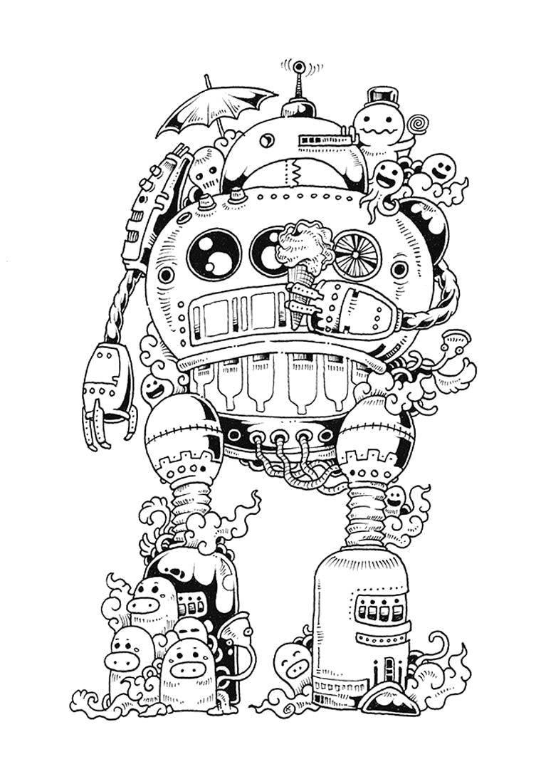 Раскраска Роботы Скачать Робот.  Распечатать ,робот,