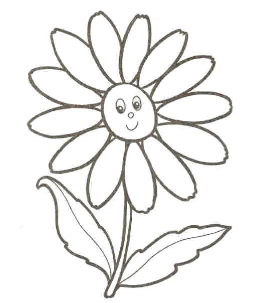Раскраска Счастливая ромашка Скачать Цветы, ромашка.  Распечатать ,Раскраски для малышей,