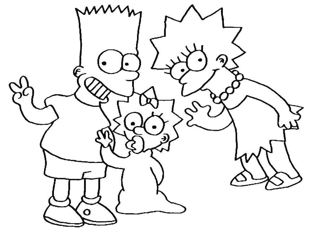 Раскраска Барт, лиза и мэгги Скачать Персонаж из мультфильма, Симпсоны.  Распечатать ,Персонаж из мультфильма,