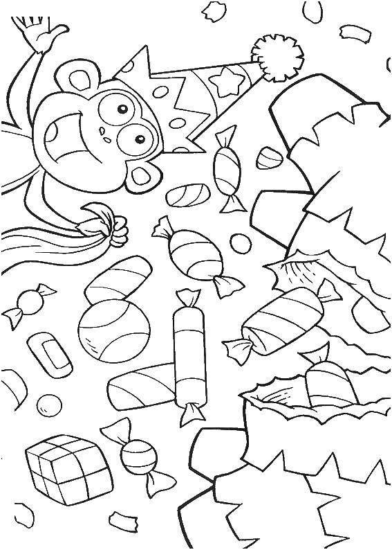 Раскраска сладости Скачать ,Пират, остров, сокровища, карта,.  Распечатать