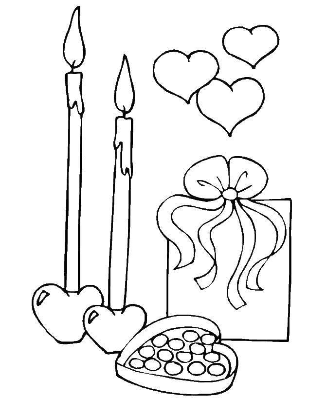 Раскраска День святого валентина Скачать Рождество, ёлочная игрушка, ёлка, подарки.  Распечатать ,рождество,