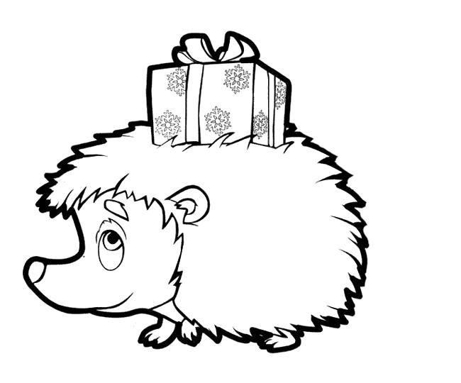Раскраска Подарочек от ёжика Скачать Подарки, праздник, ёжик.  Распечатать ,подарки,