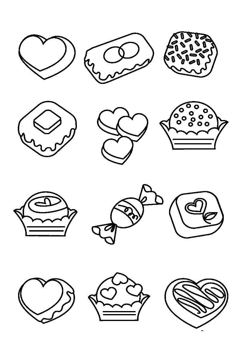 Раскраска конфеты Скачать мороженое, рожок, вафля.  Распечатать ,мороженое,