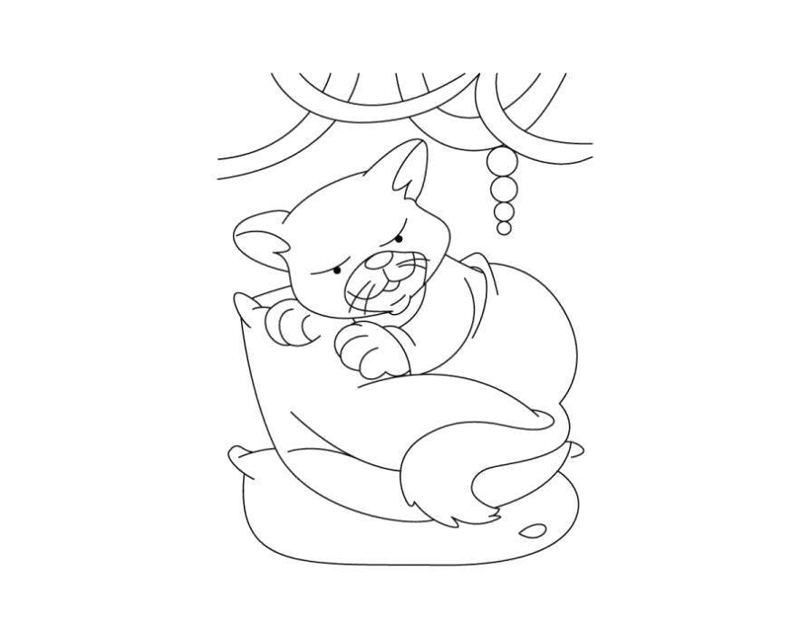 Раскраска Кот на подушке Скачать Животные, котёнок.  Распечатать ,котики,
