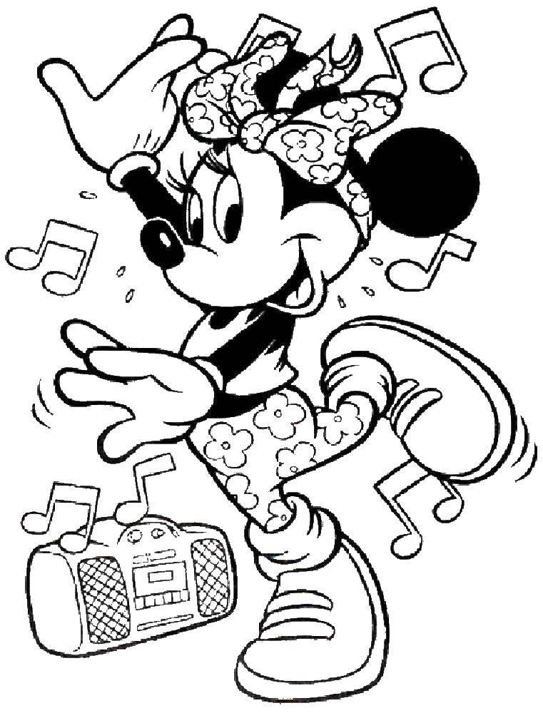 Раскраска Минни танцует под музыку Скачать Дисней, Микки Маус, Минни Маус.  Распечатать ,микки маус,