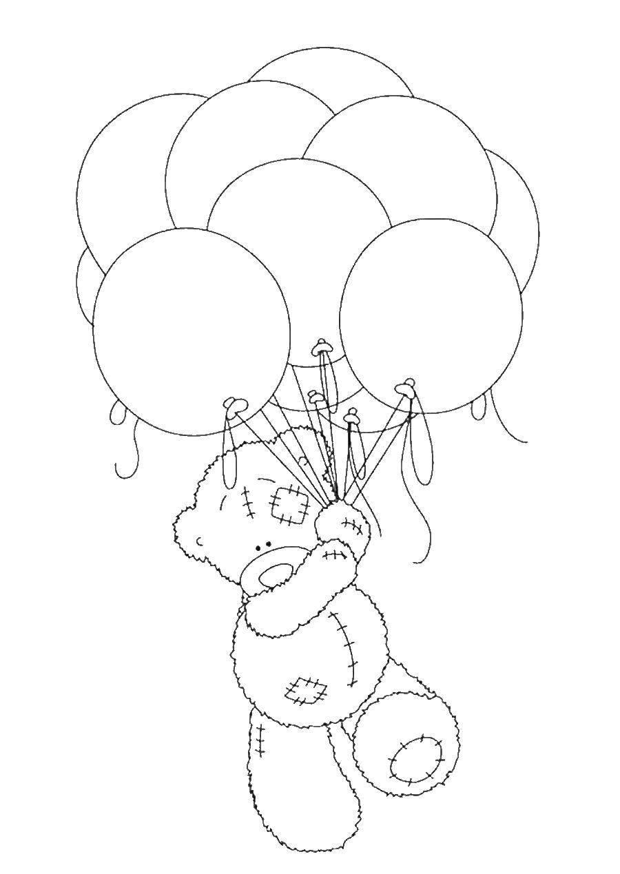 Раскраска Мишка тедди на шариках Скачать Мишка Тедди, шарики.  Распечатать ,мишки тедди,