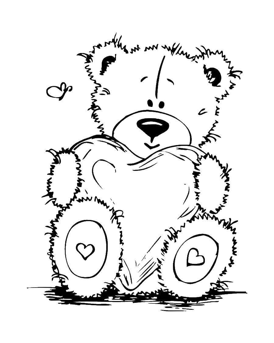 Раскраска Мишка тедди с сердечком Скачать Мишка Тедди, сердечко.  Распечатать ,мишки тедди,