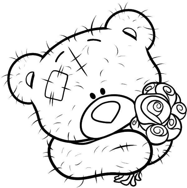 Раскраска мишки тедди Скачать .  Распечатать