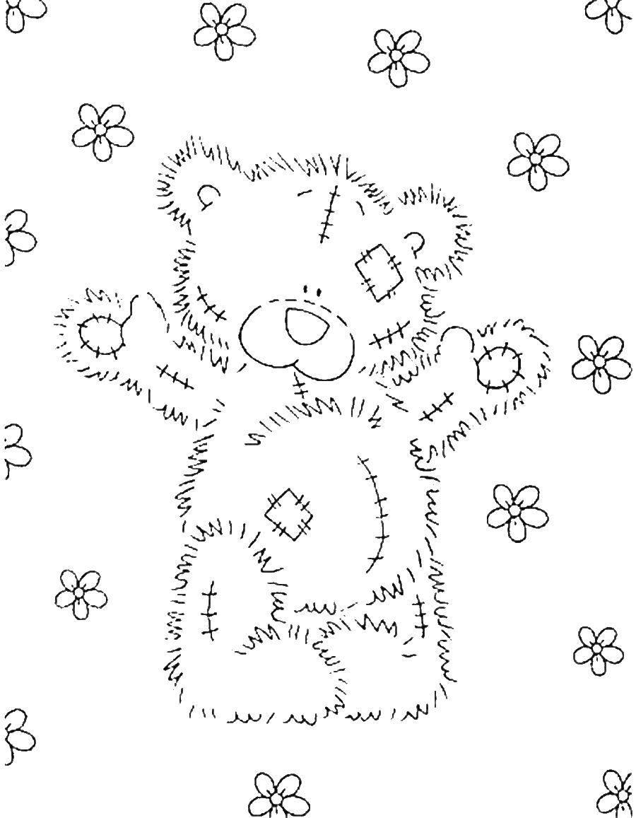 Раскраска Мишка тедди в цветочках Скачать Мишка Тедди.  Распечатать ,мишки тедди,