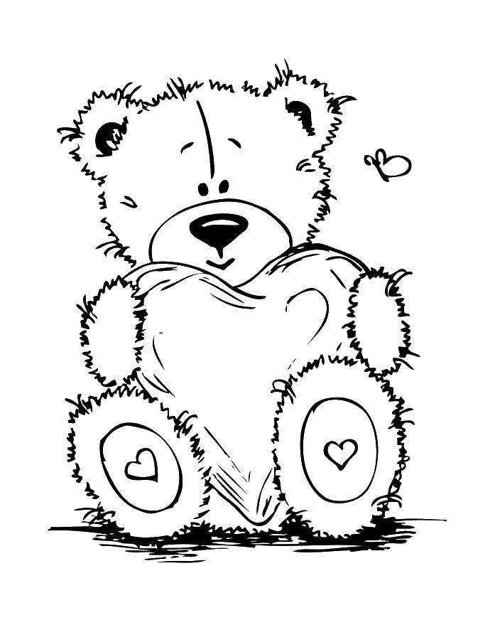 Раскраска Мишка тедди с сердечком Скачать Мишка Тедди.  Распечатать ,мишки тедди,